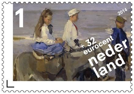 Jongen en meisje op ezeltjes, Isaac Israëls (1896)