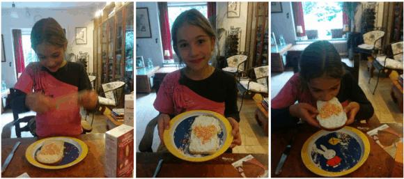 Boterham met gestampte muisjes en een hartje van vruchtenhagel