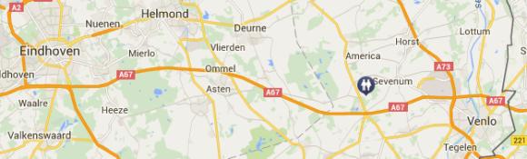 Attractiepark Toverland ligt in Sevenum, Noord-Limburg, niet ver van Eindhoven en vlakbij Venlo.