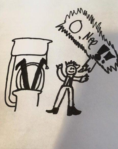 Deze tekening, gemaakt door mijn 8-jarige zoon die mee was, vat het begin van het verhaal goed samen!