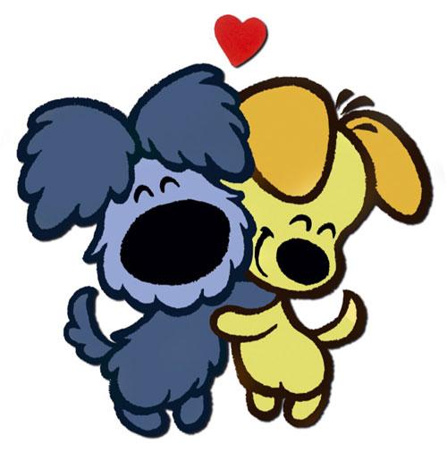 woezel en pip knuffelen elkaar